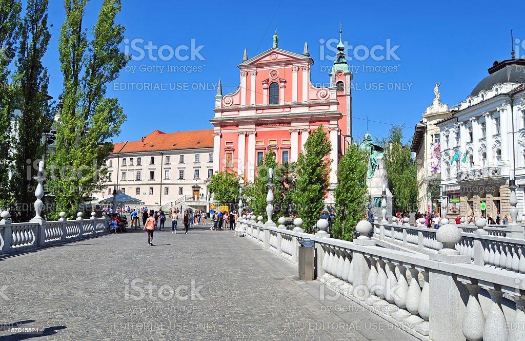 Preseren's square and St. Franciscan church, Ljubljana, Slovenia stock photo