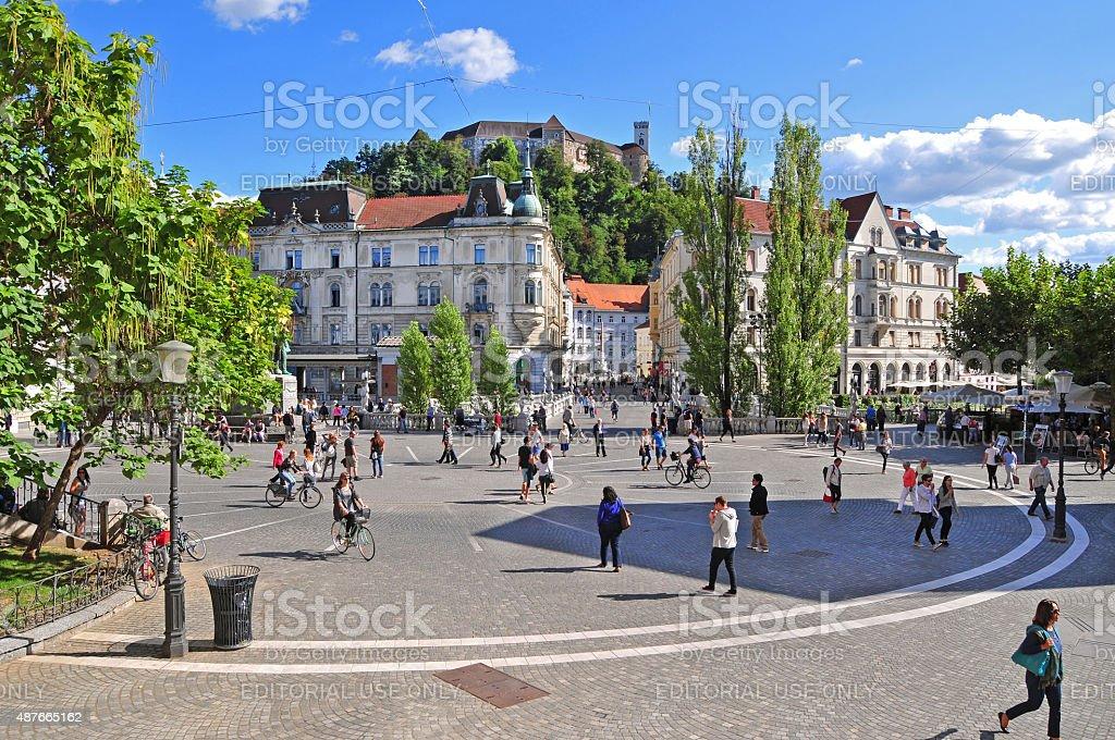 Presern's square and Ljubljana's castle stock photo