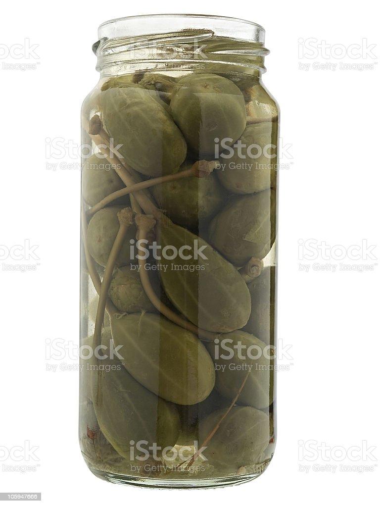 Conservado caper en el recipiente. foto de stock libre de derechos