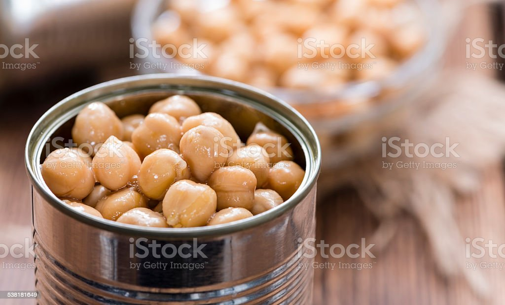 Preserved Chick Peas stock photo
