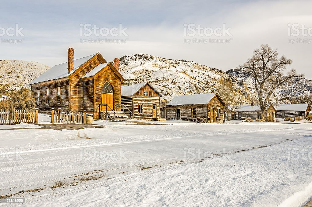 Preserved Church and Houses in a Ghost Town stock photo