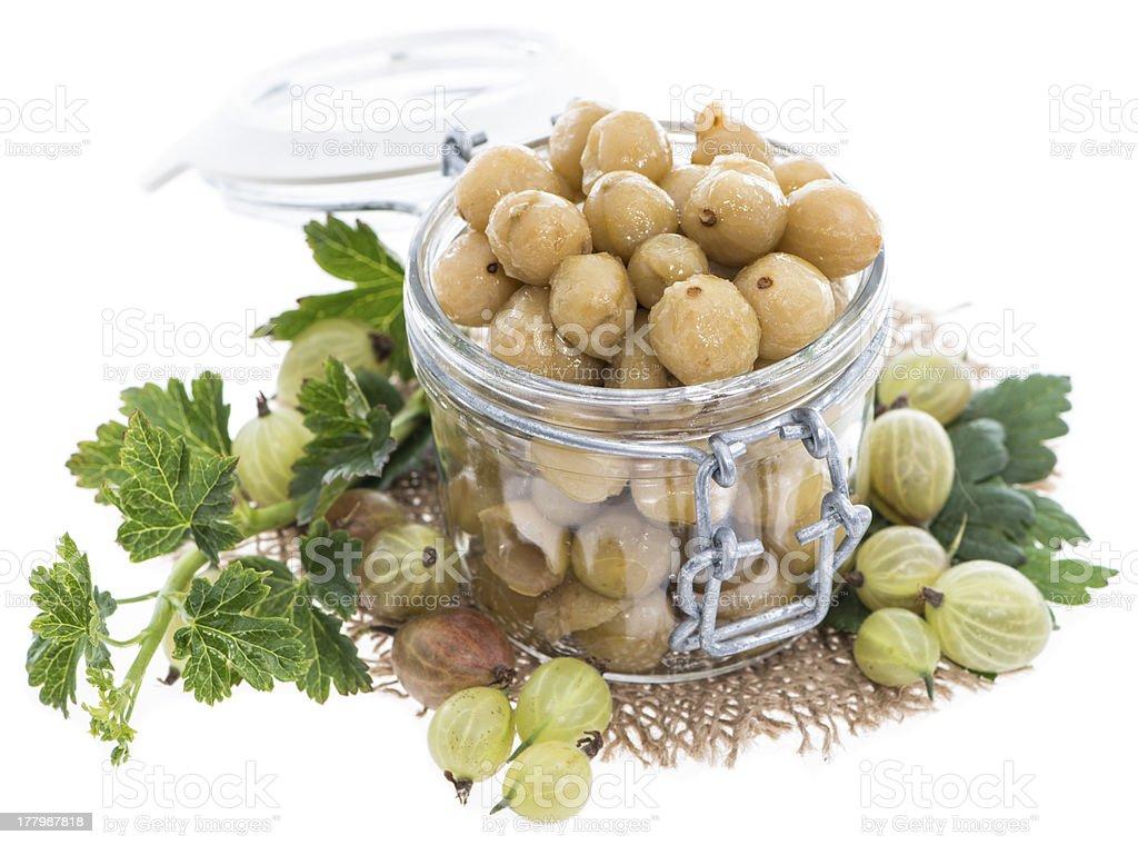 Preserved Gooseberries on white royalty-free stock photo