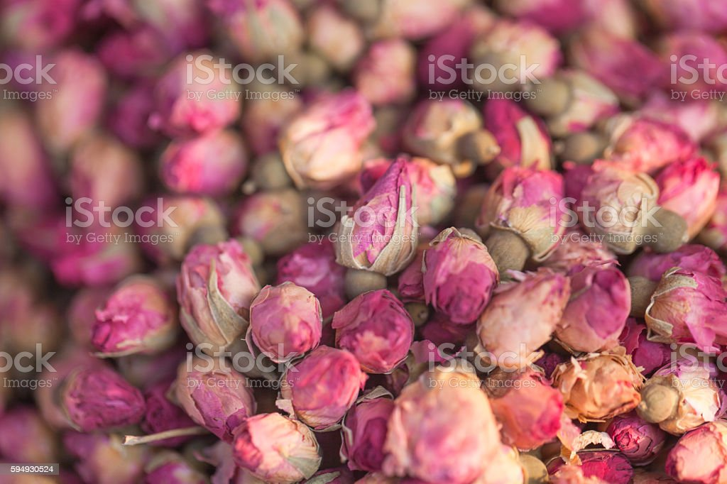 preserved rose bud for tea drink stock photo