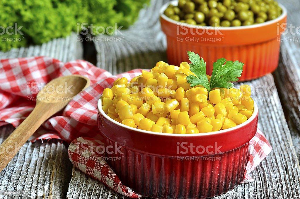 Preserved sweet corn. stock photo