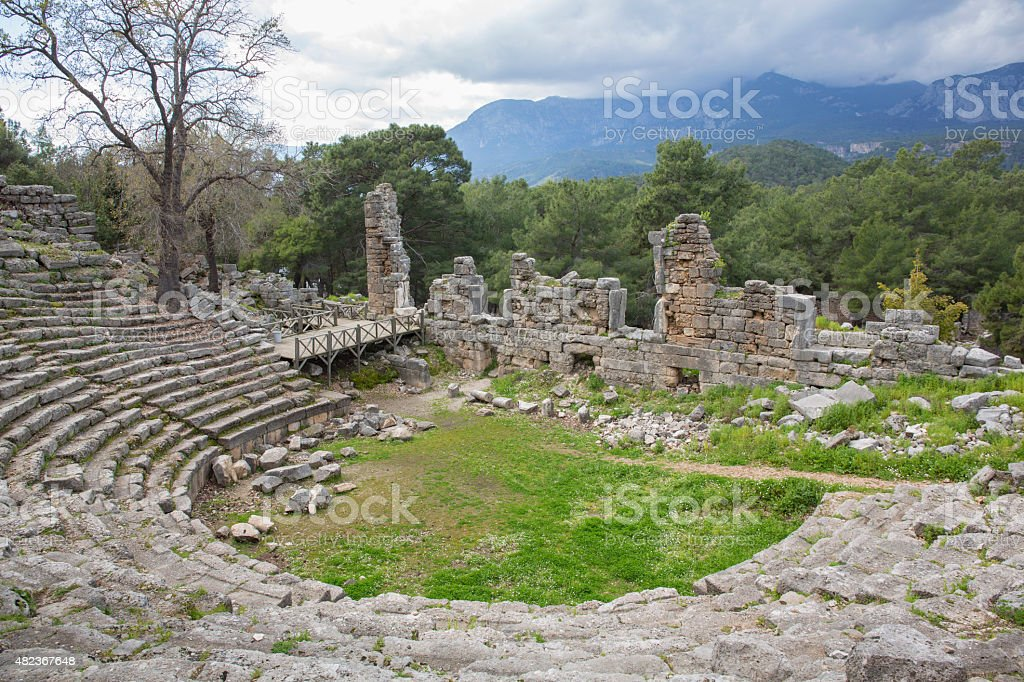 Preserved theatre steps of ancient Greek ruin, Olympos stock photo