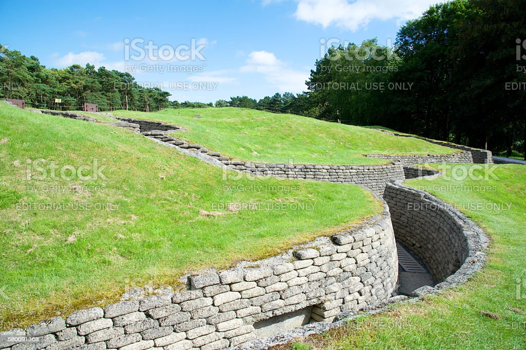 Preserved trenches at the Canadian National Vimy Memorial stock photo