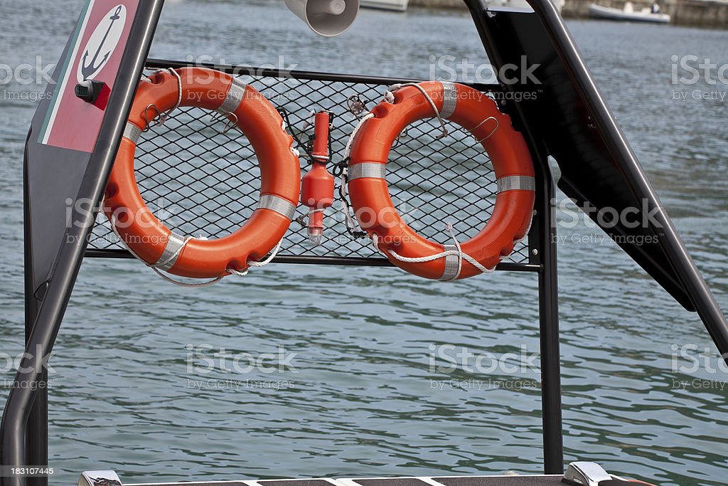 Preserver on the boat royalty-free stock photo