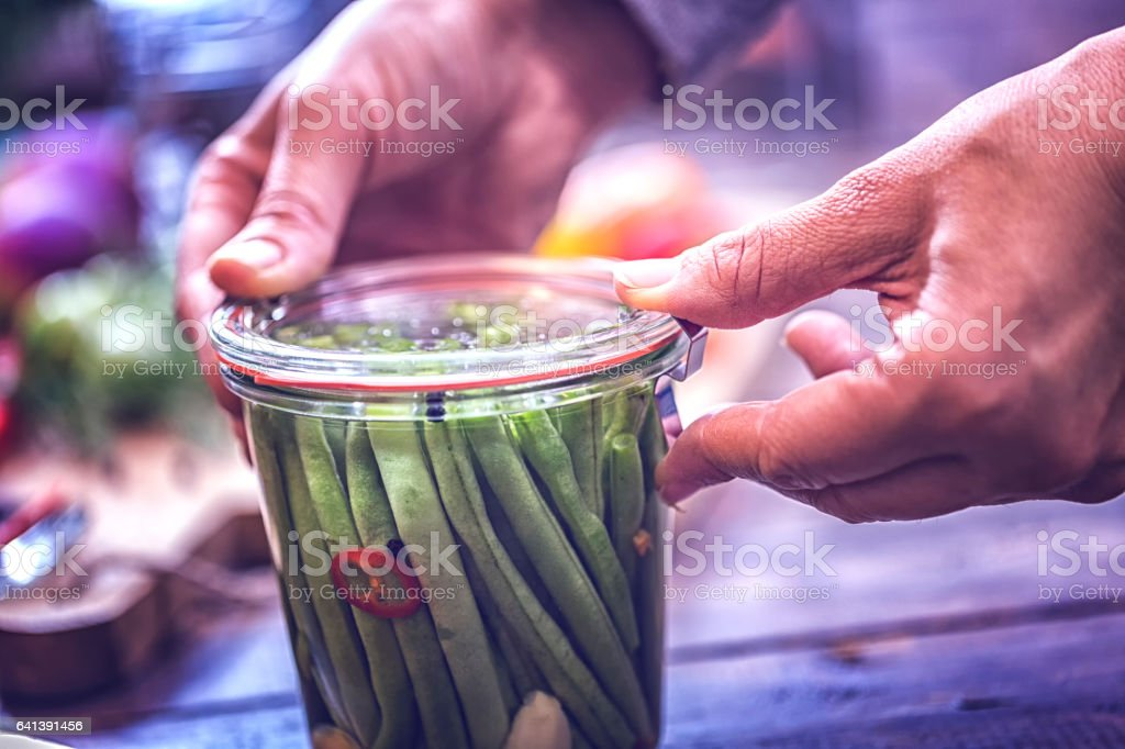 Preserving Green Beans in a Jar stock photo