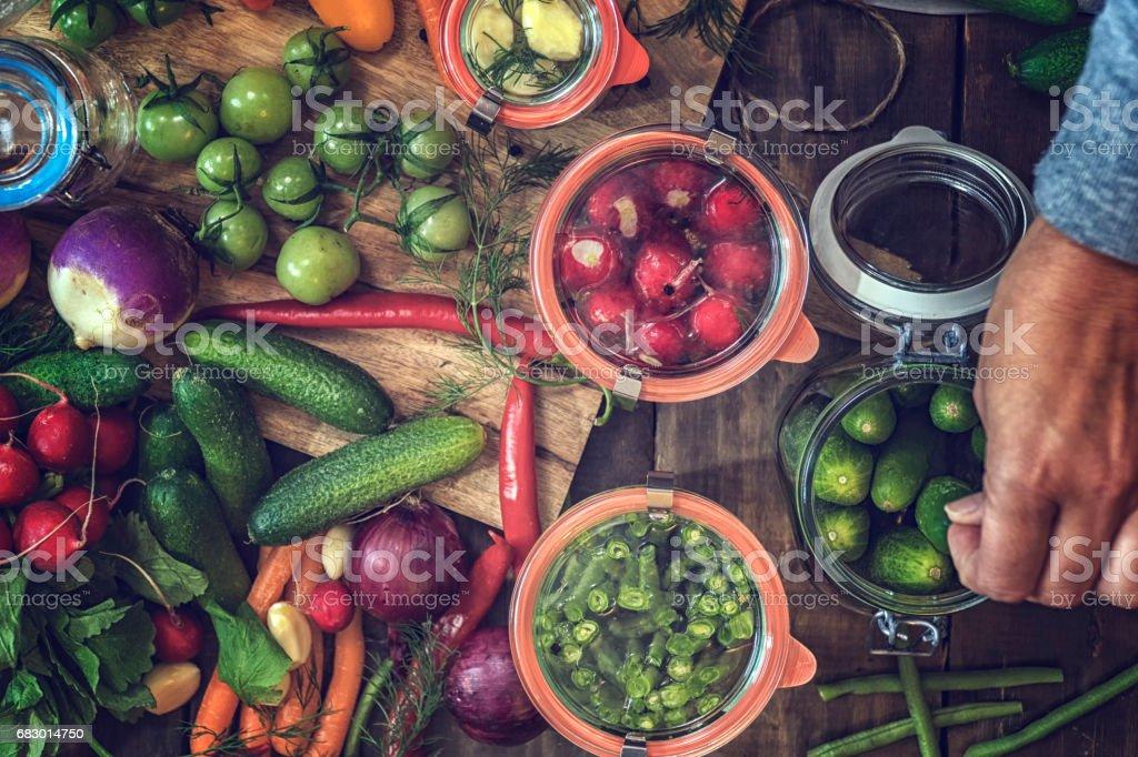 Preserving Organic Vegetables in Jars stock photo