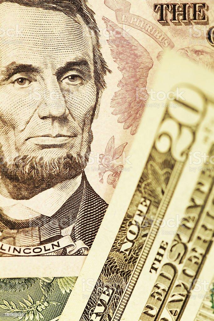 President Abraham Lincoln Portrait on US Dollar Bill royalty-free stock photo