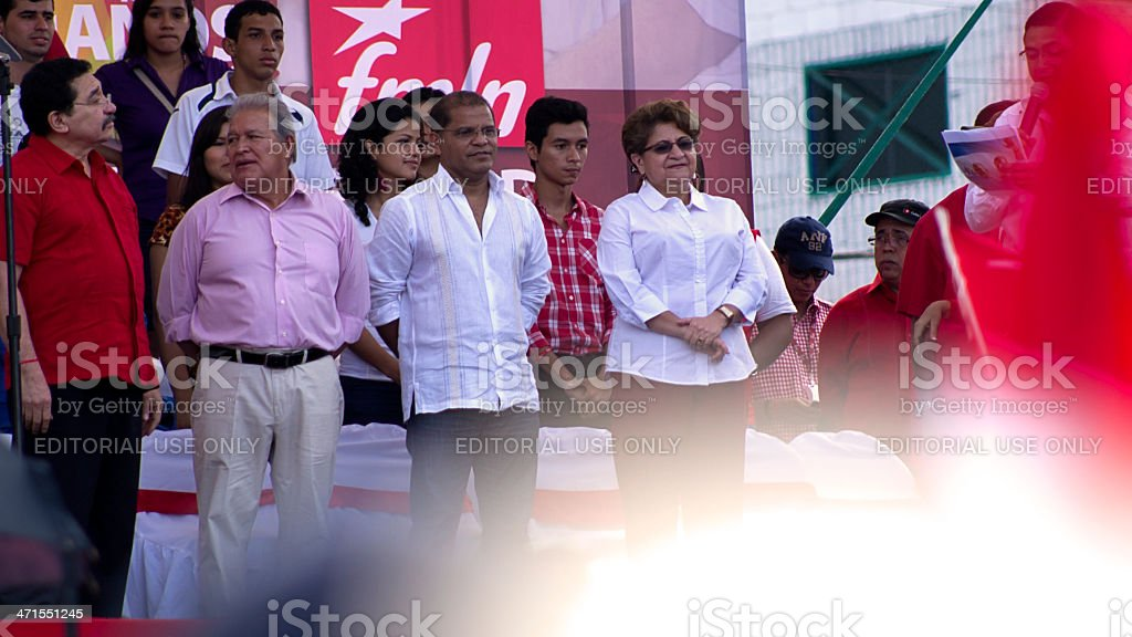 FMLN President and Vicepresident candidates in a rally royalty-free stock photo