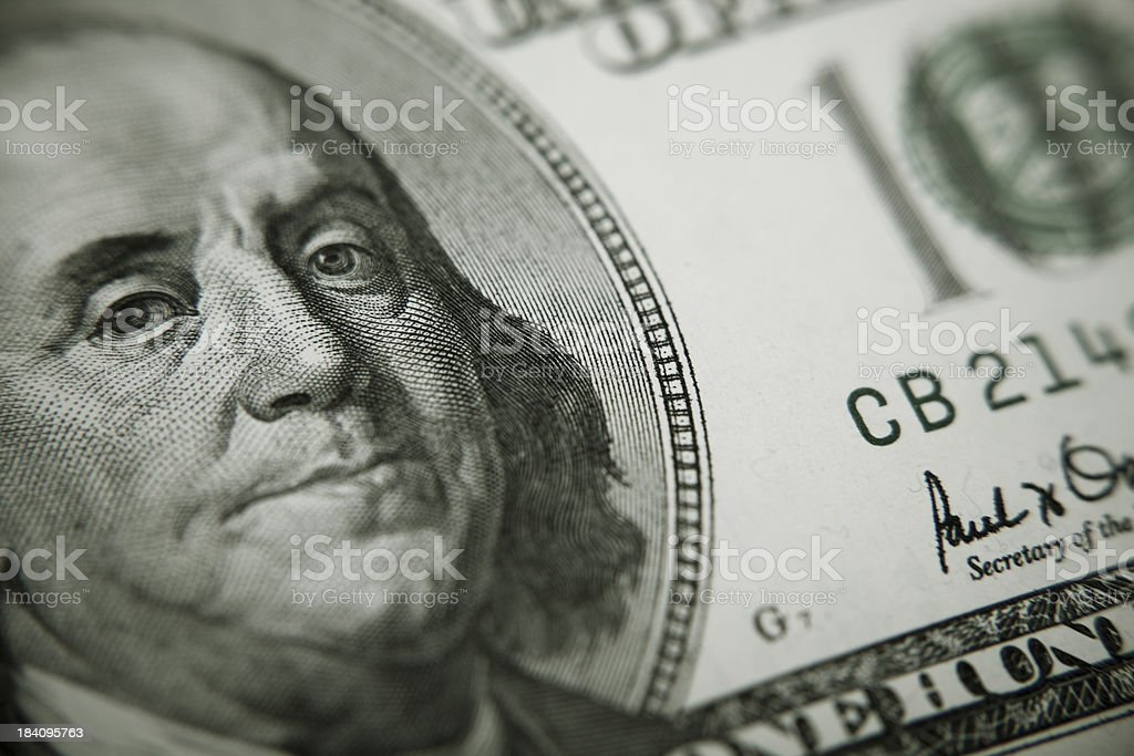 President Benjamin Franklin on 100 US dollar bill stock photo