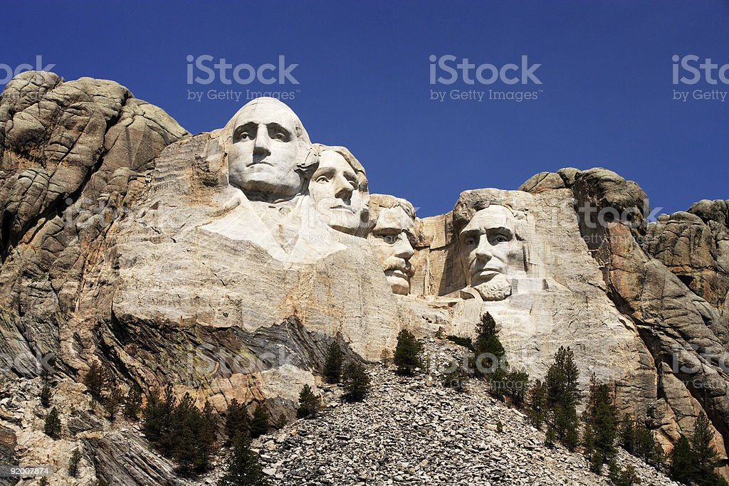 President faces at Mount Rushmore stock photo