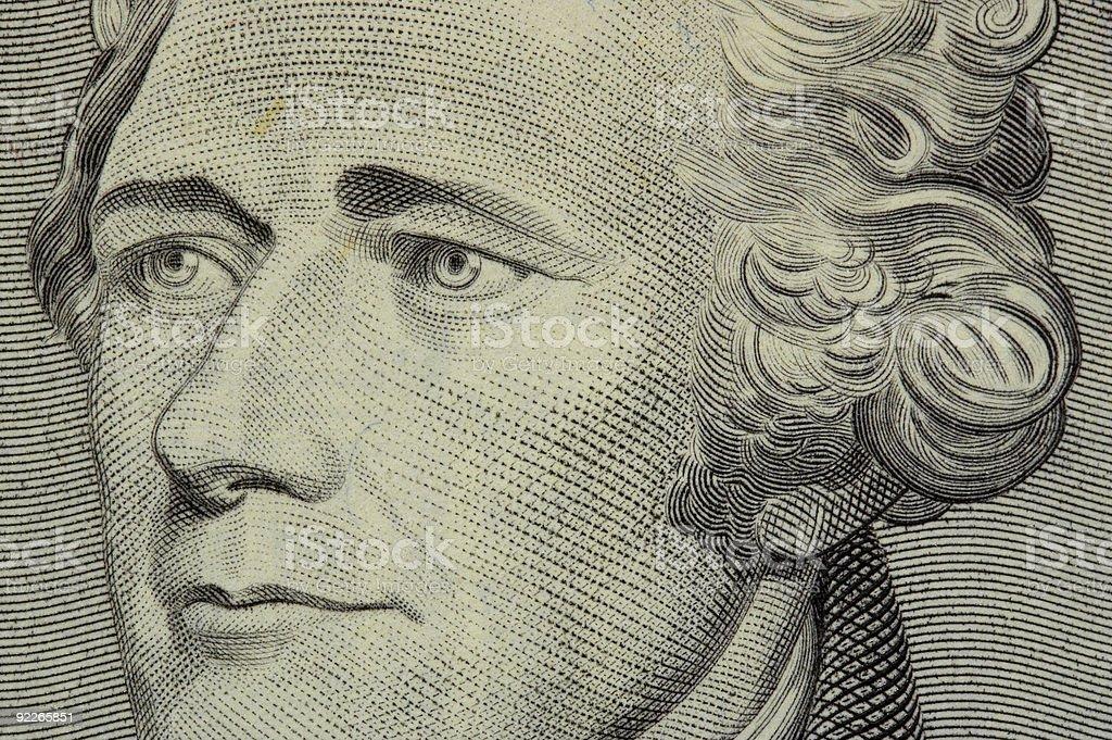 president hamilton face on the ten dollar bill stock photo