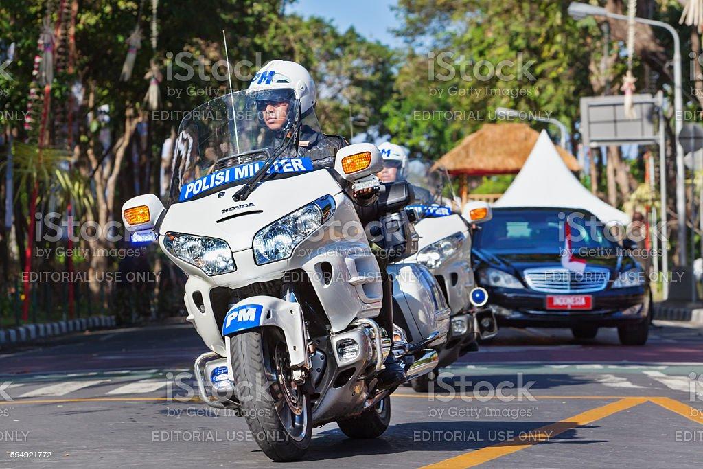 President Indonesia Joko Widodo motorcade during official visit to Bali stock photo