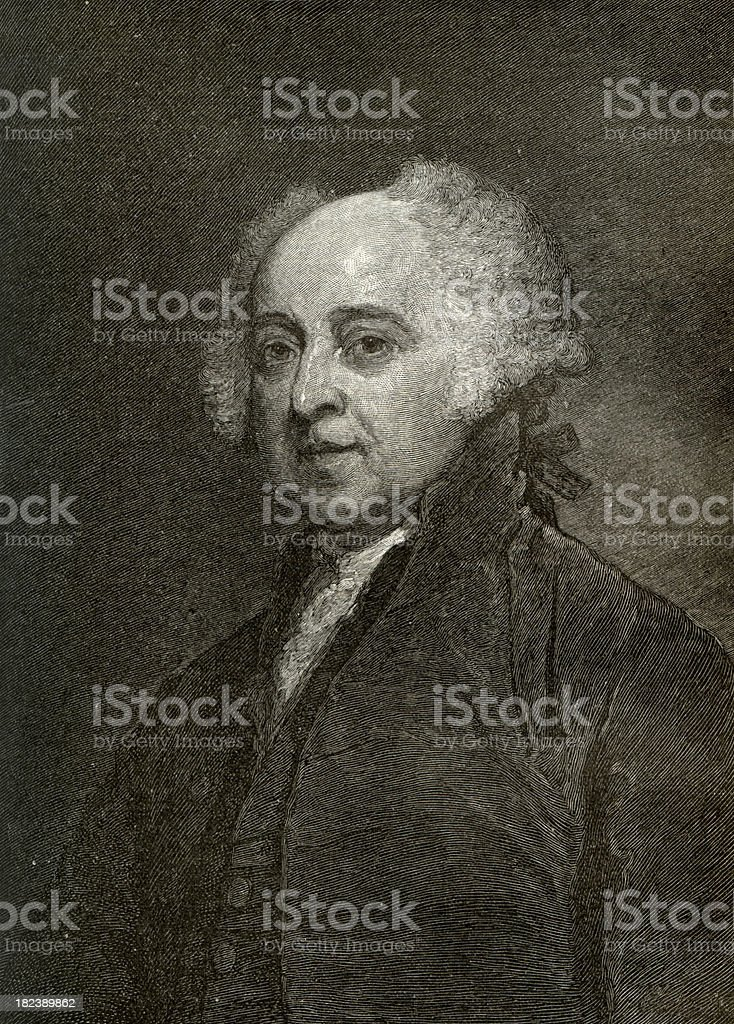 President John Adams Engrave stock photo