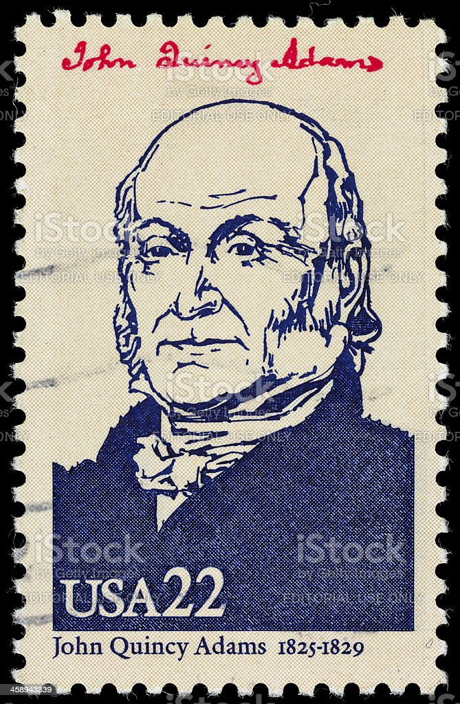 USA President John Quincy Adams postage stamp stock photo