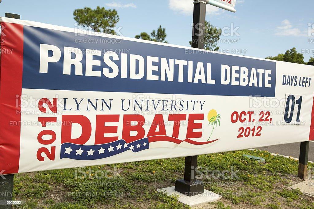 President Obama and Mitt Romney debate banner stock photo