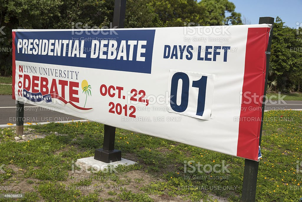 President Obama and Mitt Romney debate banner royalty-free stock photo