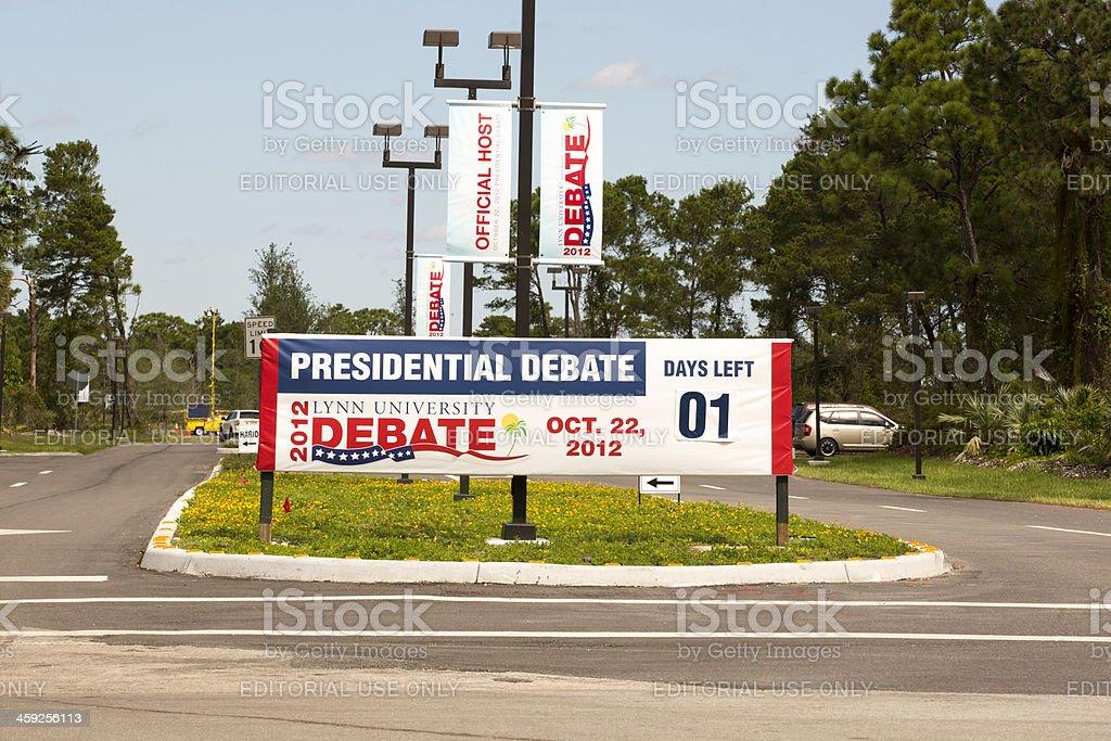 President Obama and Mitt Romney debate banner royalty-free stock photo