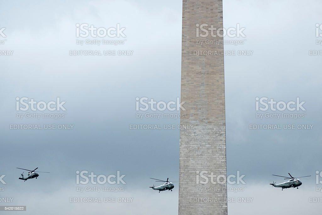 President Obama returning to White House in Marine One stock photo