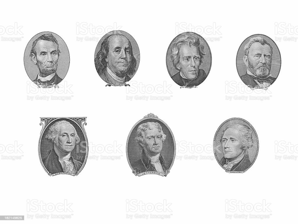 President Portraits from Money royalty-free stock photo