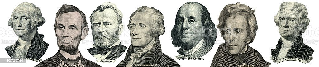 President portraits from money stock photo