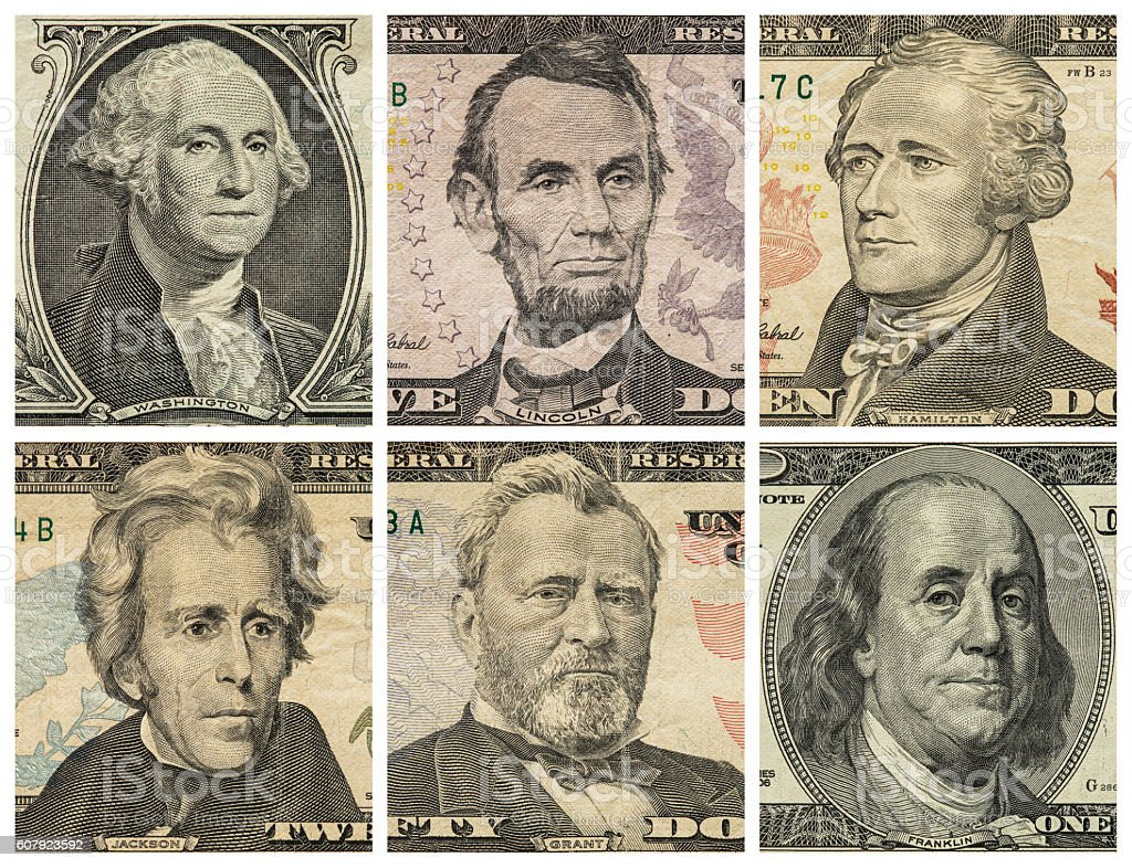 President portraits on dollar bills stock photo