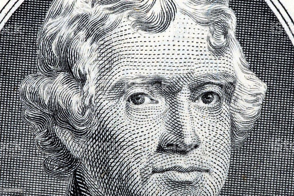 President Thomas Jefferson close-up portrait stock photo
