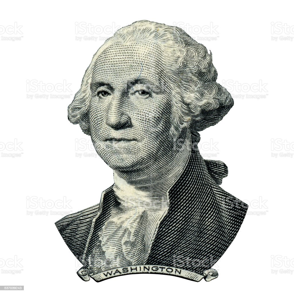 President Washington George portrait (Clipping path) stock photo