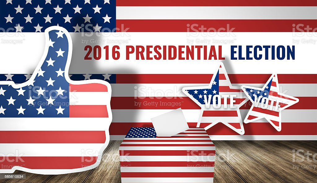 2016 presidential election america flag 3d render background stock photo