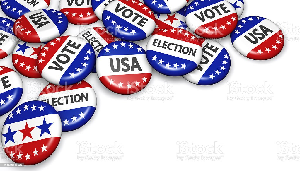 USA Presidential Election Campaign Badges stock photo
