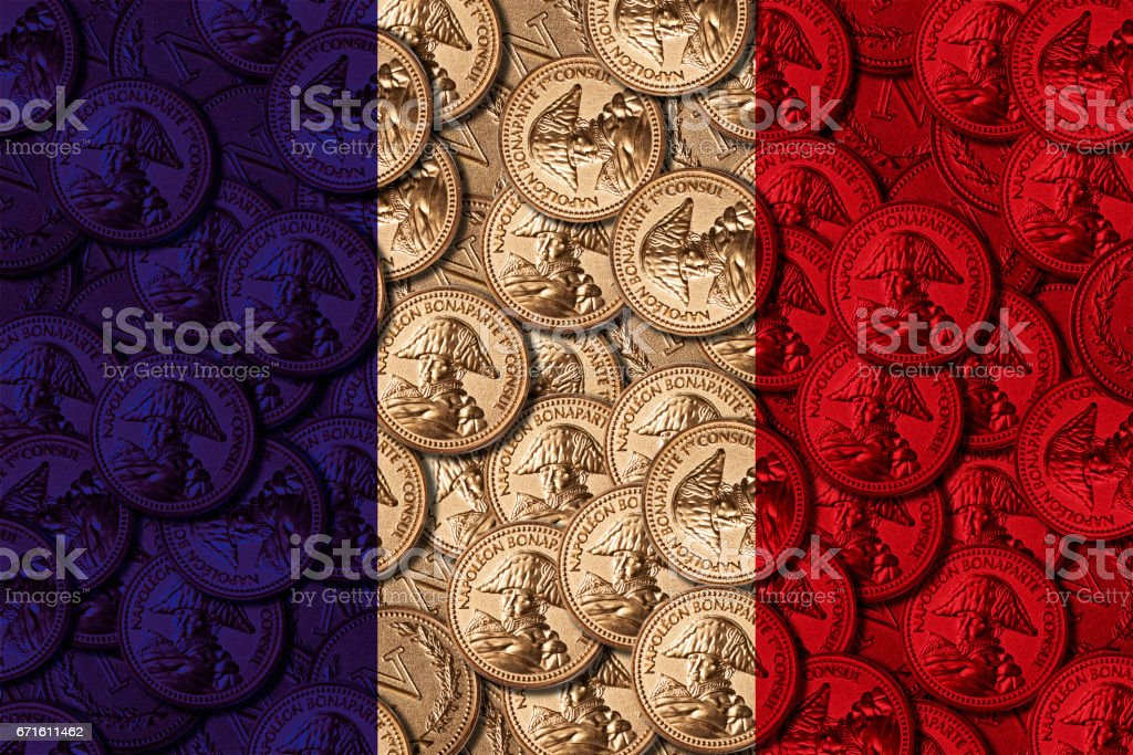 Presidential election day . French elections 2017. Virtual french coins on national flag background stock photo