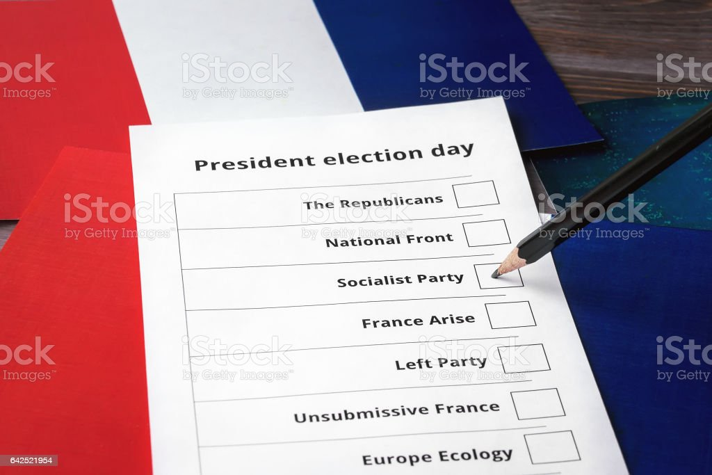 Presidential election day in French Republic. Socialist party stock photo