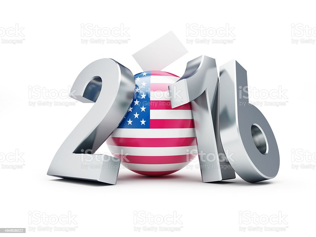 presidential election USA in 2016 white background stock photo