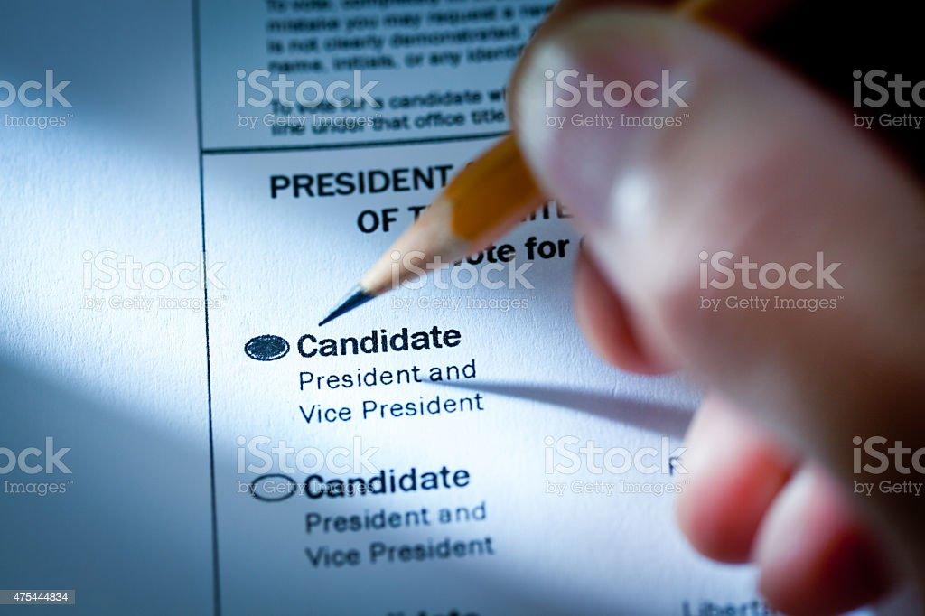 U.S. Presidential Election Voting Ballot with Selection of Candidates stock photo