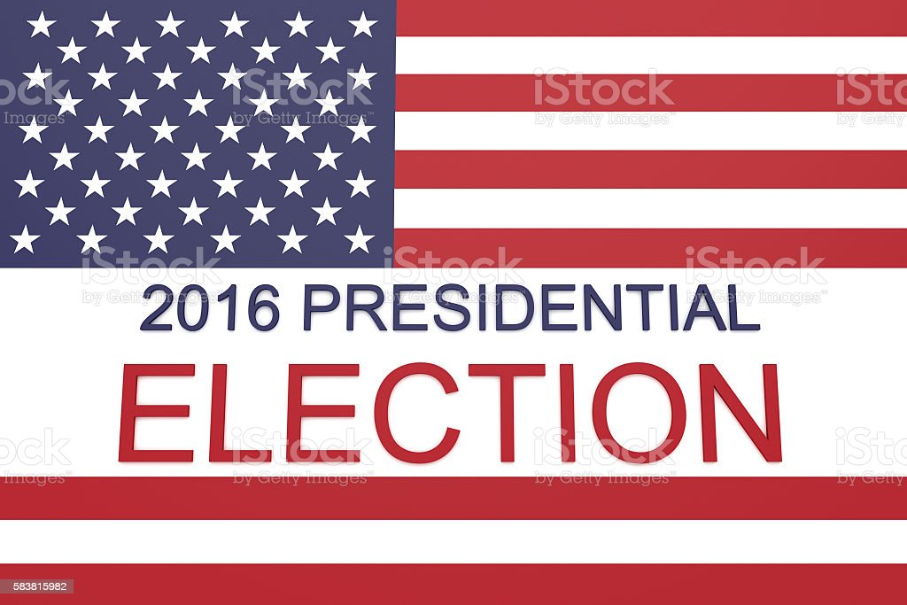 2016 US Presidential election with Stars and Stripes, 3d illustration stock photo