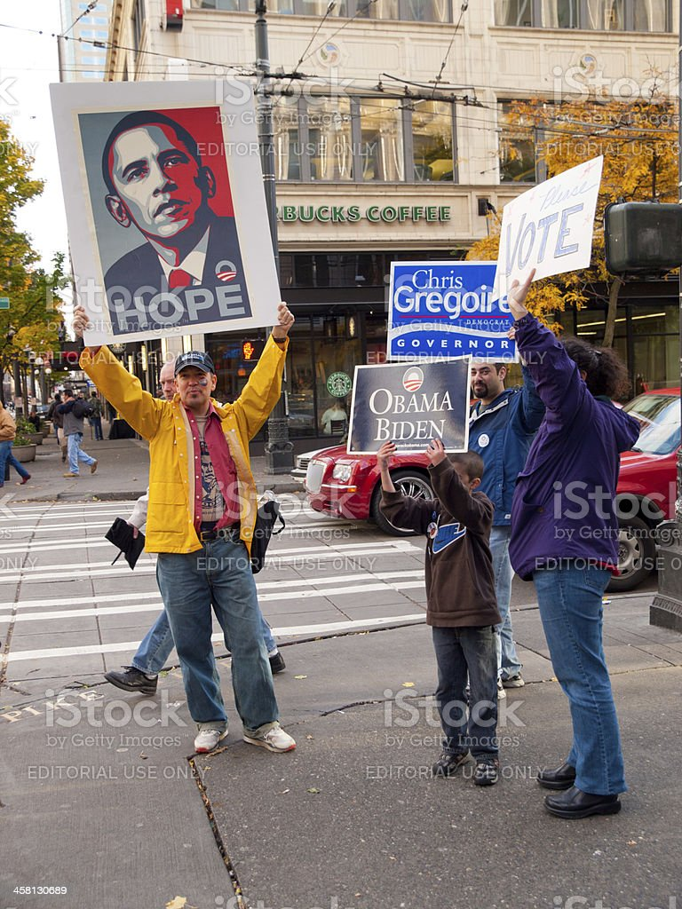 2008 Presidential Elections - Obama supporters stock photo