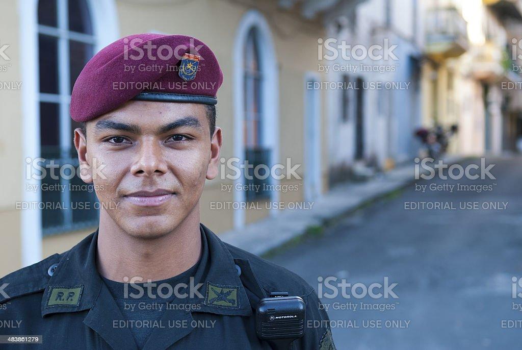 Presidential Guard in Casco Viejo Panama City stock photo