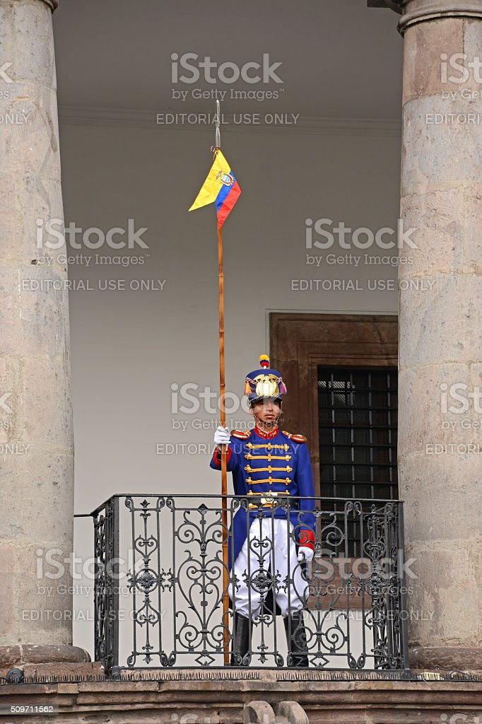 Presidential guard in Quito stock photo