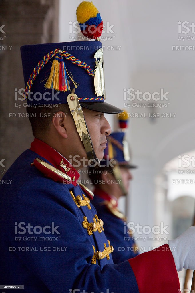 Presidential guard working at the presidential palace, Quito stock photo