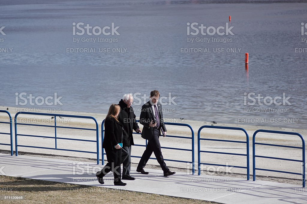 Presidential hopeful Bernie Sanders and his Wife Jane. stock photo