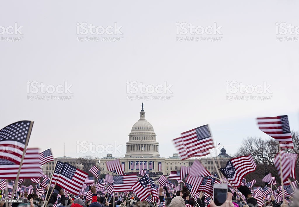 Presidential inauguration in Washington Mall, 2013 stock photo
