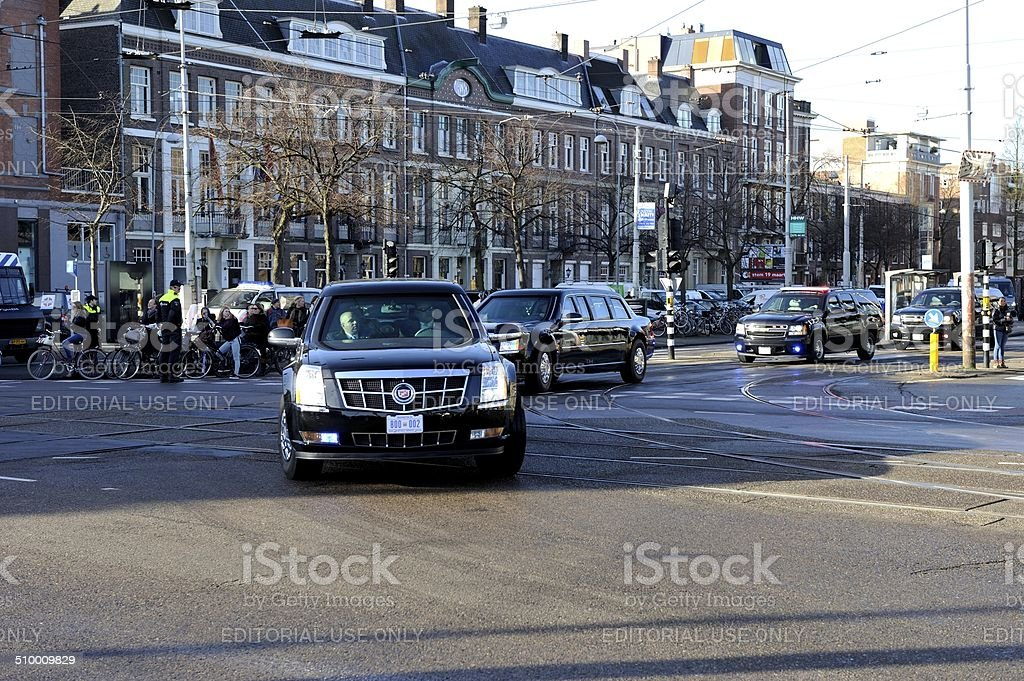 Presidential limousines in Amsterdam stock photo