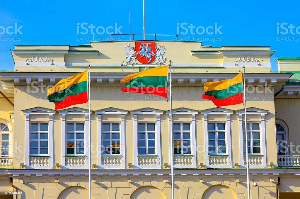 Presidential Lithuanian building and Flags, Vilnius, Baltics stock photo