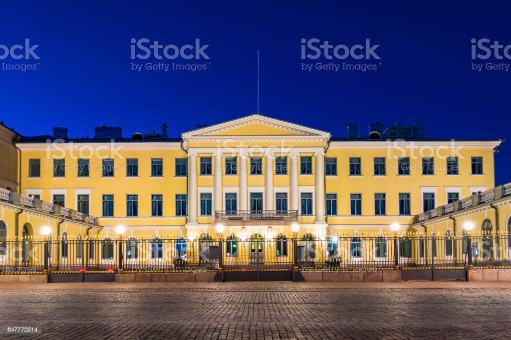Presidential Palace in downtown Helsinki Finland stock photo