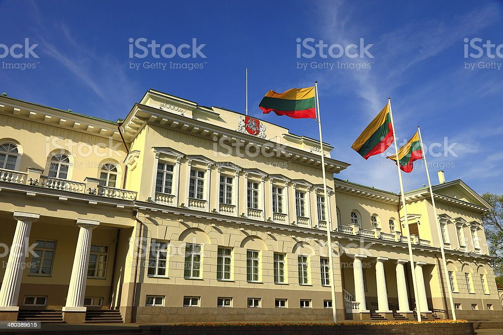 Presidential Palace in Vilnius and Lithuanian flags, Lithuania stock photo