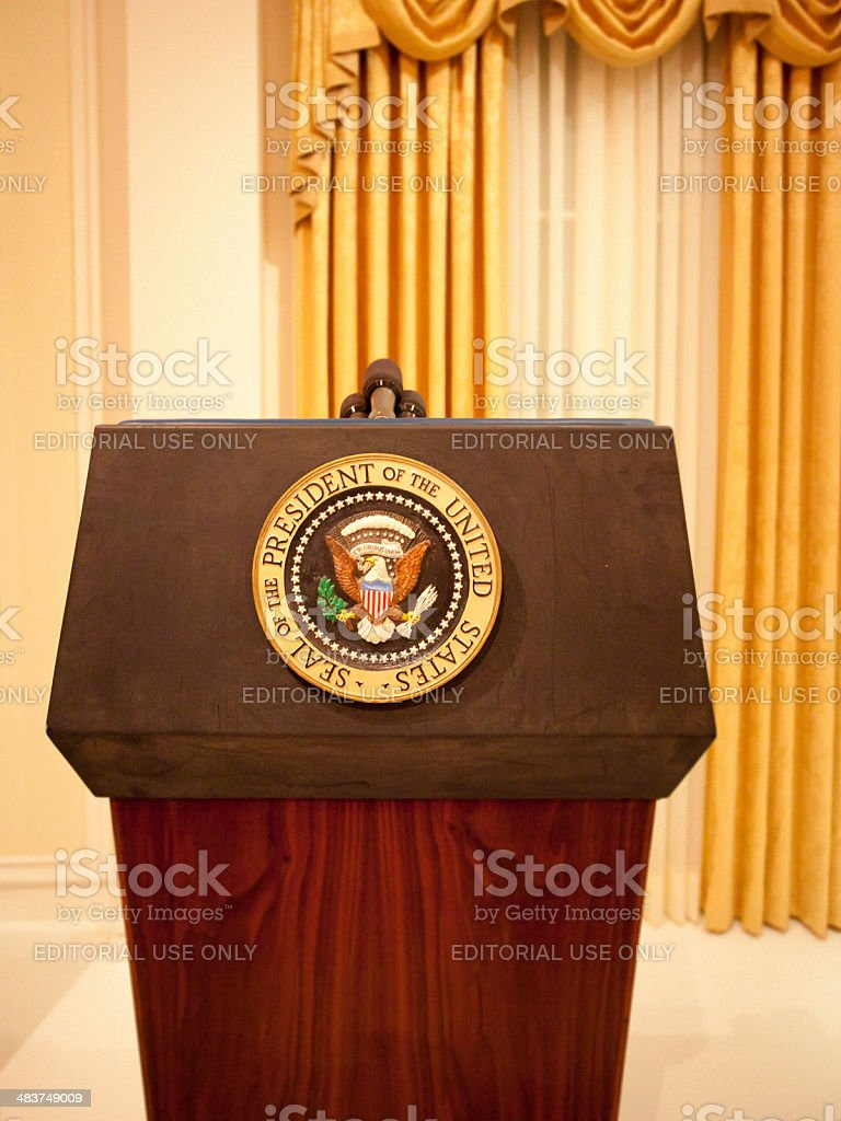 Presidential podium stock photo