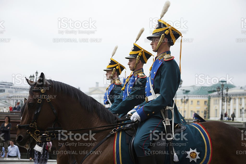 Presidential Regiment's Cavalry Escort, Moscow, Russia. stock photo