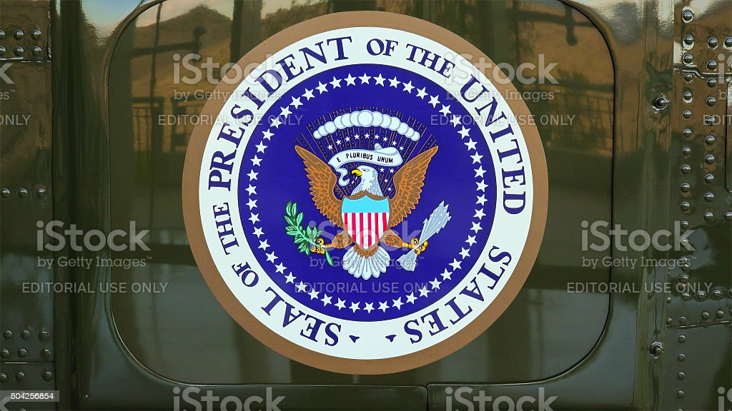 Presidential Seal on the side of Presidential Helicopter 'Marine stock photo